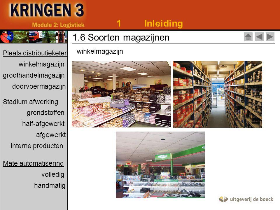 1 Inleiding 1.6 Soorten magazijnen winkelmagazijn
