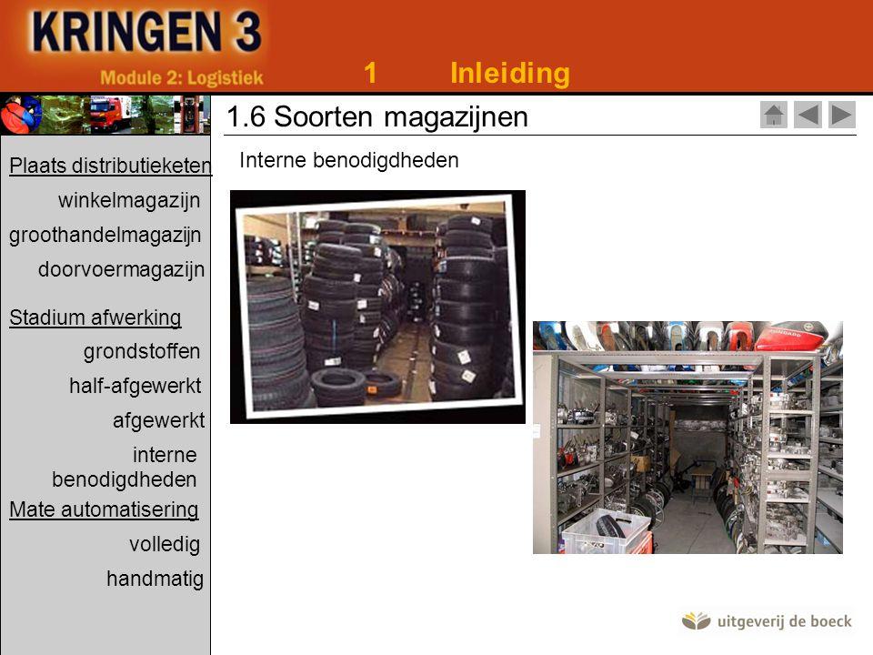 1 Inleiding 1.6 Soorten magazijnen Interne benodigdheden