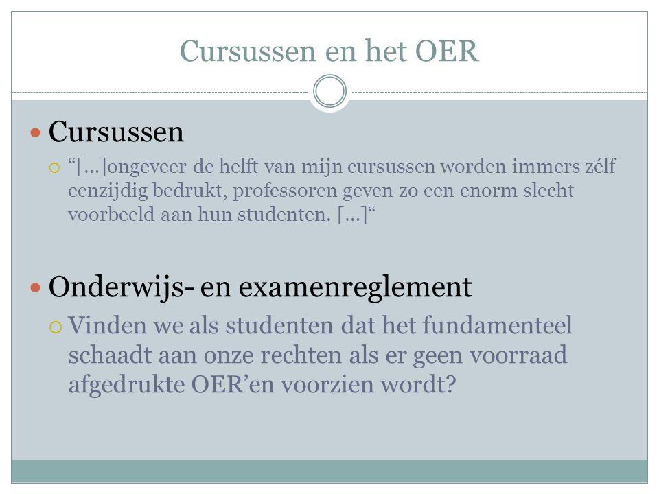 Cursussen en het OER Cursussen Onderwijs- en examenreglement