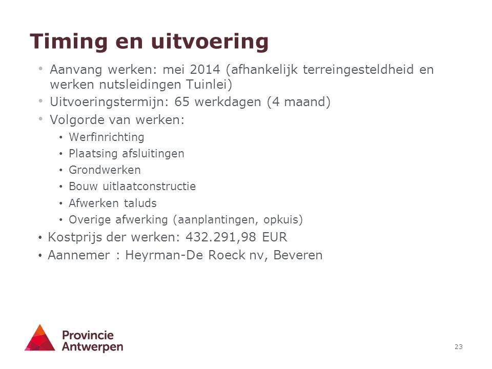 Timing en uitvoering Aanvang werken: mei 2014 (afhankelijk terreingesteldheid en werken nutsleidingen Tuinlei)