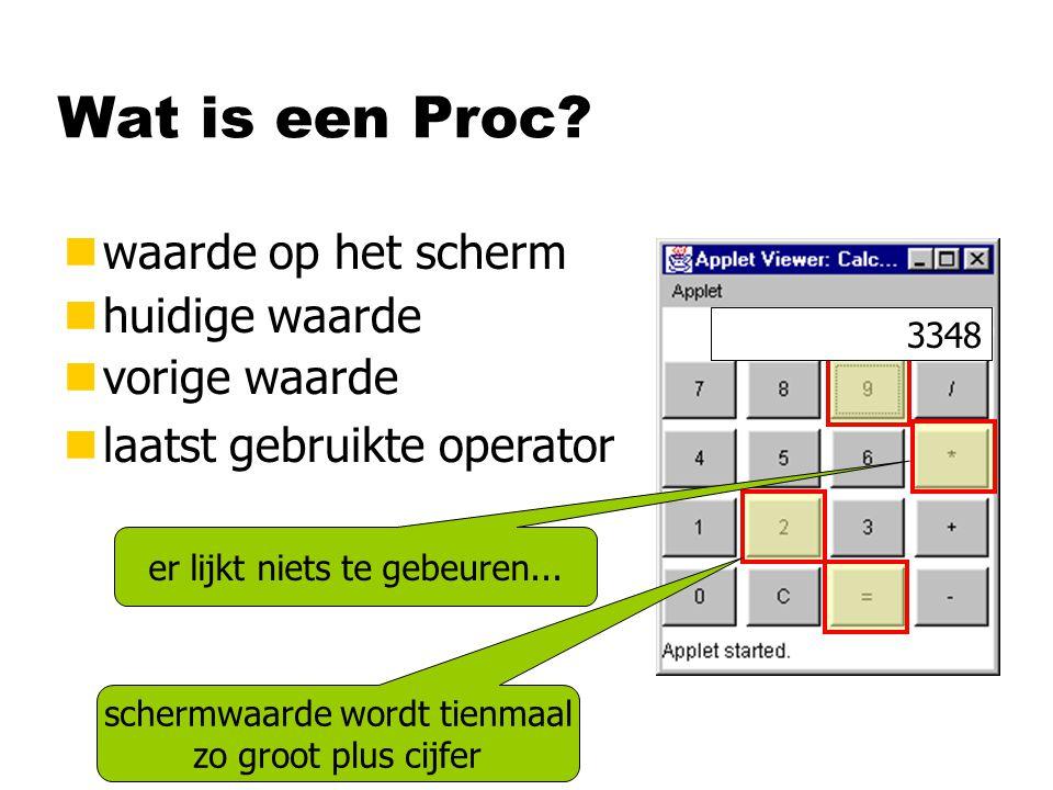 Wat is een Proc waarde op het scherm huidige waarde vorige waarde