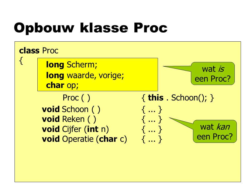 Opbouw klasse Proc class Proc { long Scherm; wat is een Proc