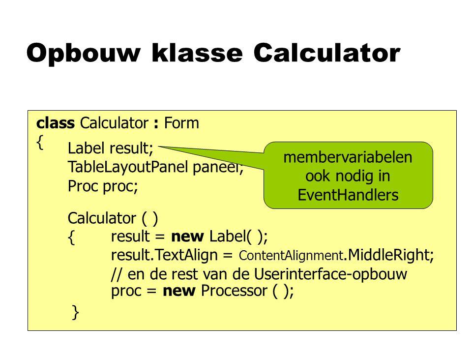 Opbouw klasse Calculator