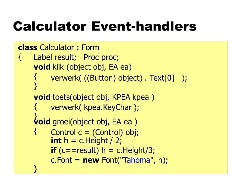 Calculator Event-handlers