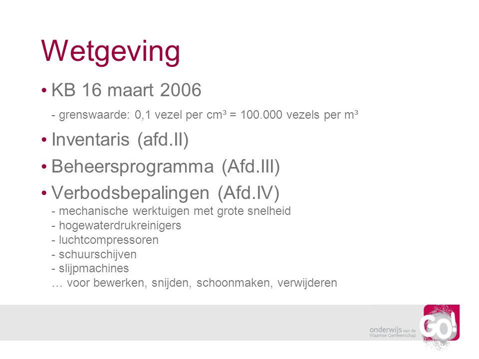Wetgeving KB 16 maart 2006 - grenswaarde: 0,1 vezel per cm³ = 100.000 vezels per m³. Inventaris (afd.II)