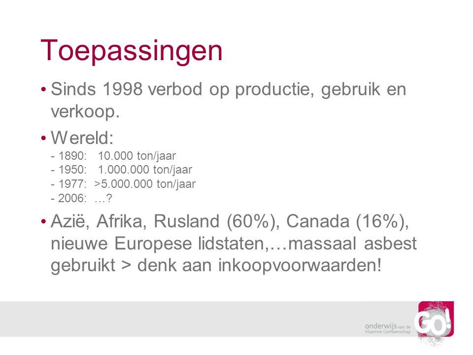 Toepassingen Sinds 1998 verbod op productie, gebruik en verkoop.