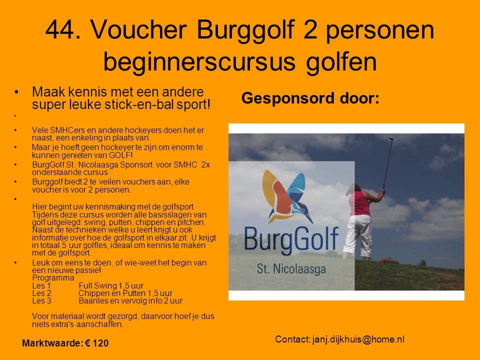 44. Voucher Burggolf 2 personen beginnerscursus golfen