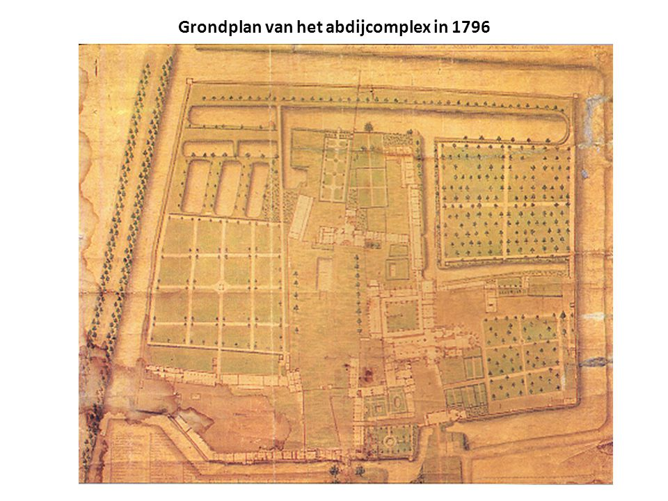 Grondplan van het abdijcomplex in 1796