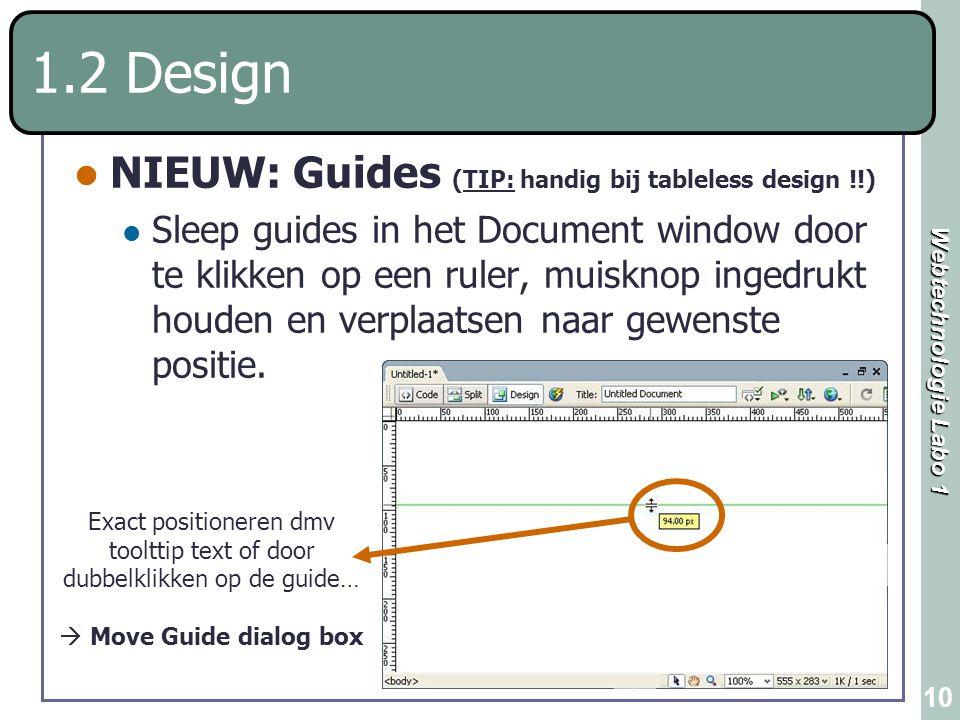 1.2 Design NIEUW: Guides (TIP: handig bij tableless design !!)