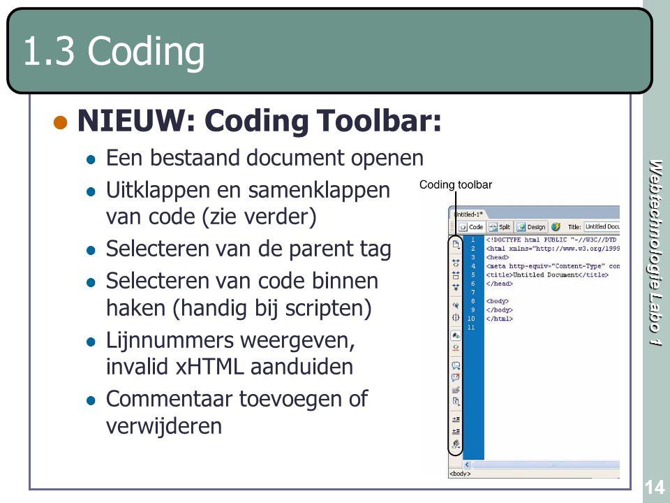 1.3 Coding NIEUW: Coding Toolbar: Een bestaand document openen