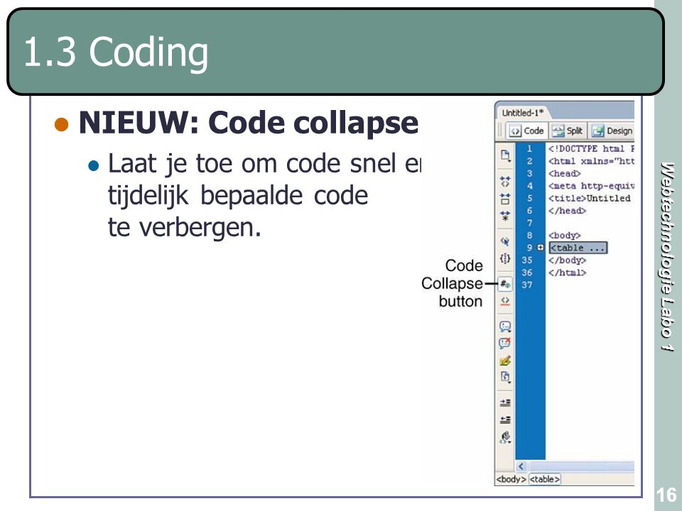 1.3 Coding NIEUW: Code collapse