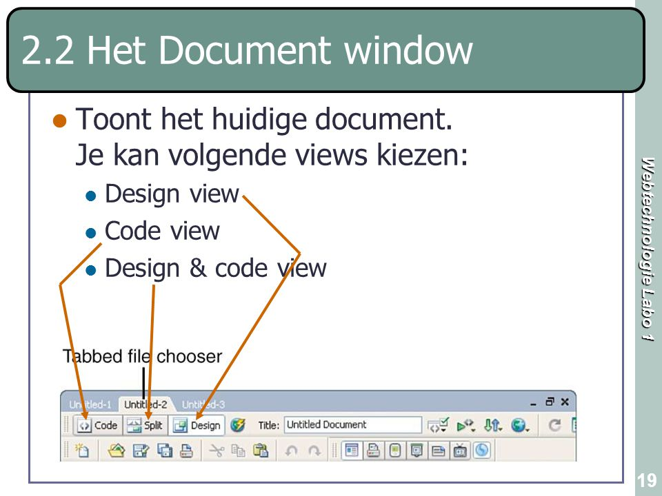 2.2 Het Document window Toont het huidige document. Je kan volgende views kiezen: Design view. Code view.