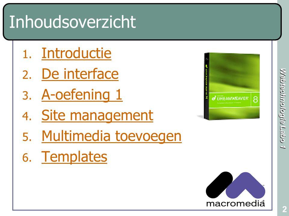 Inhoudsoverzicht Introductie De interface A-oefening 1 Site management