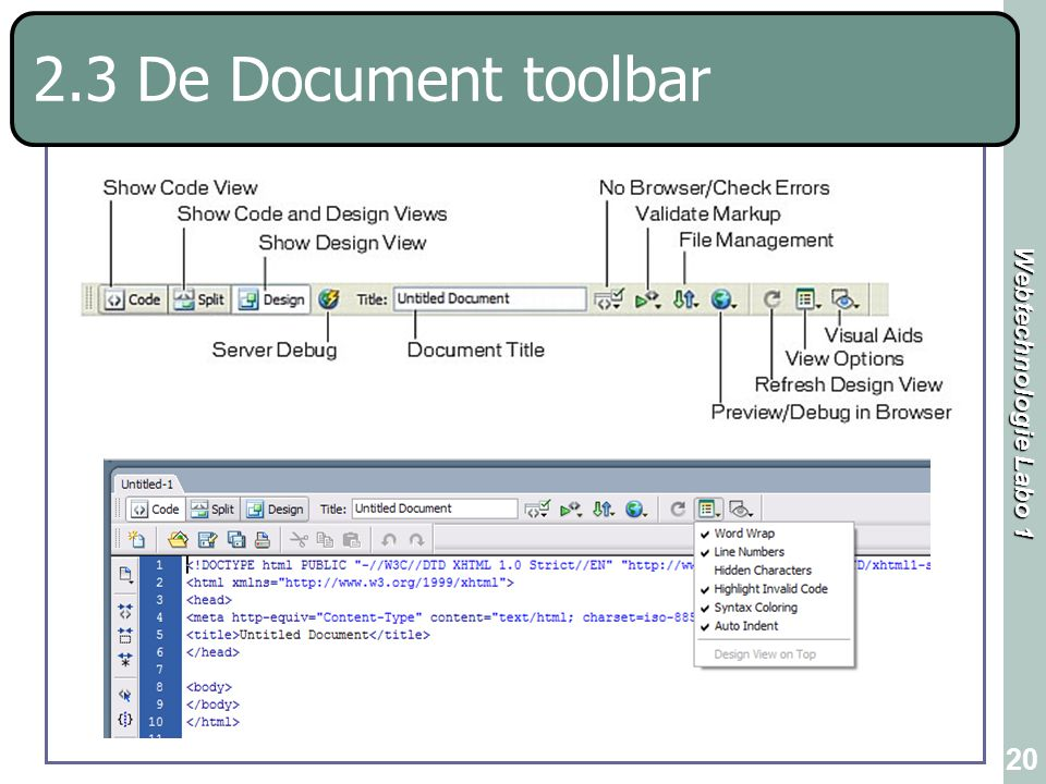 2.3 De Document toolbar