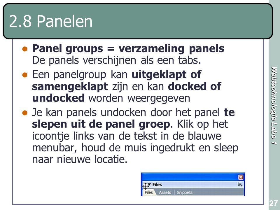 2.8 Panelen Panel groups = verzameling panels De panels verschijnen als een tabs.