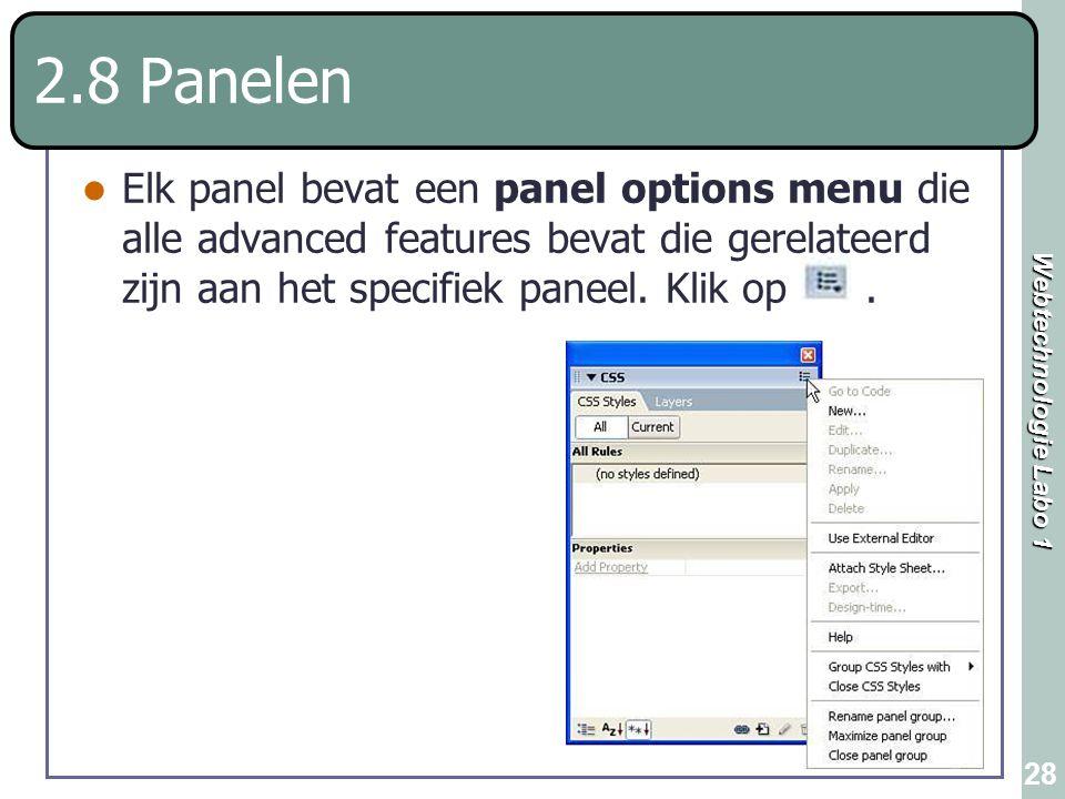 2.8 Panelen Elk panel bevat een panel options menu die alle advanced features bevat die gerelateerd zijn aan het specifiek paneel.