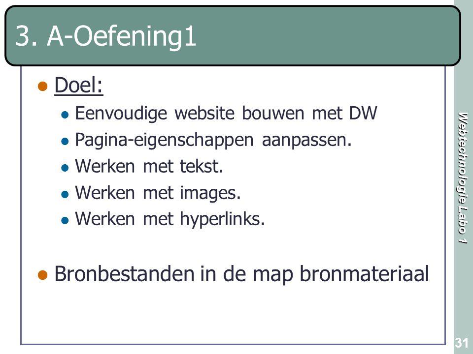 3. A-Oefening1 Doel: Bronbestanden in de map bronmateriaal