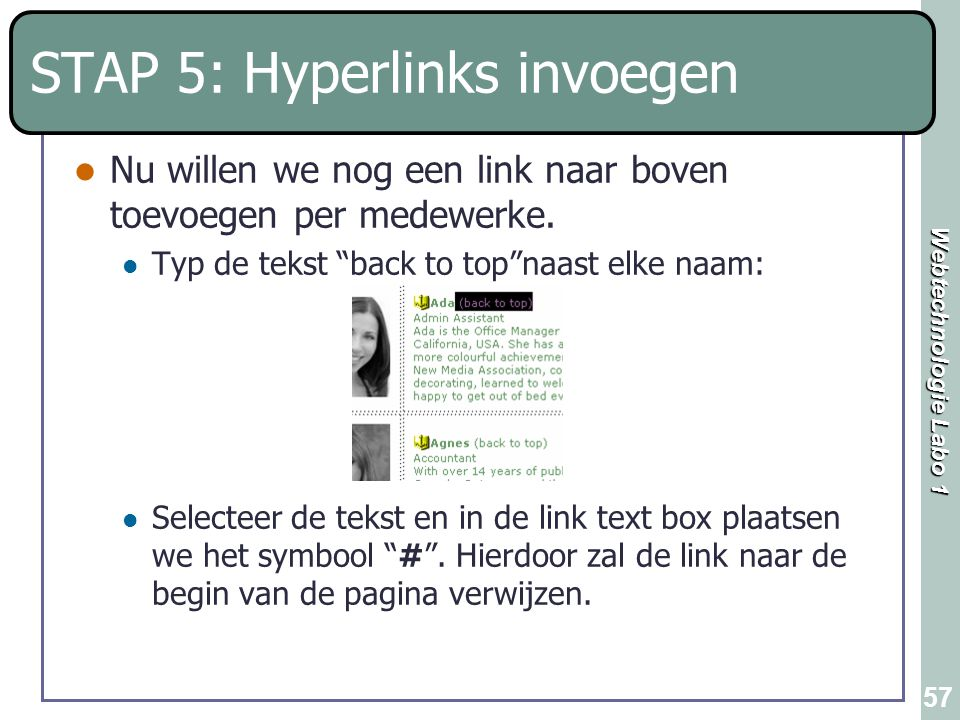 STAP 5: Hyperlinks invoegen
