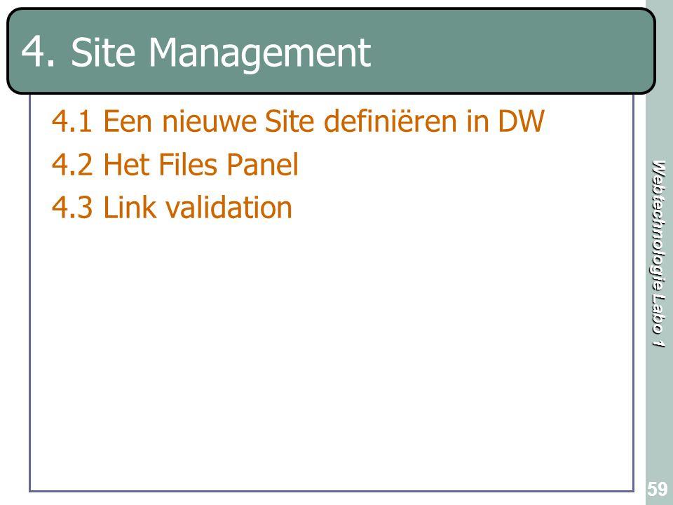 4. Site Management 4.1 Een nieuwe Site definiëren in DW