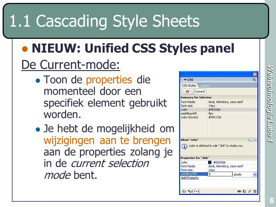 1.1 Cascading Style Sheets
