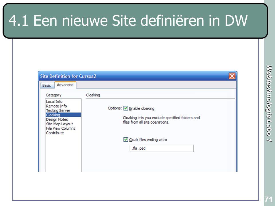 4.1 Een nieuwe Site definiëren in DW