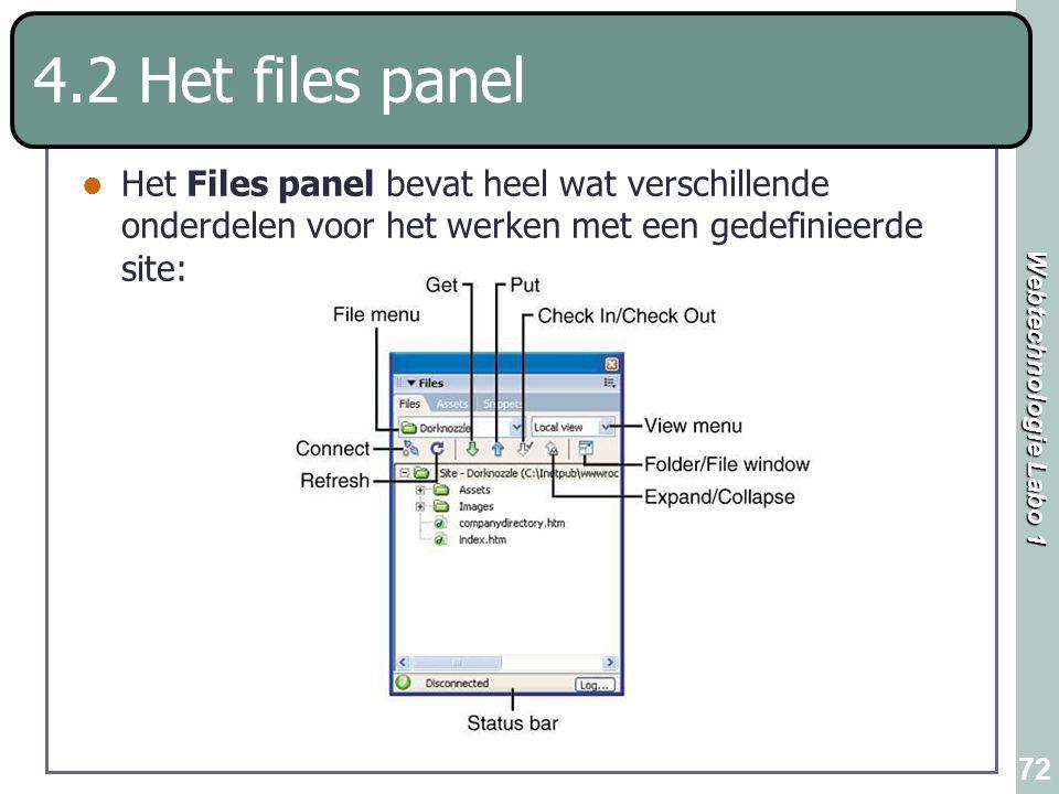 4.2 Het files panel Het Files panel bevat heel wat verschillende onderdelen voor het werken met een gedefinieerde site: