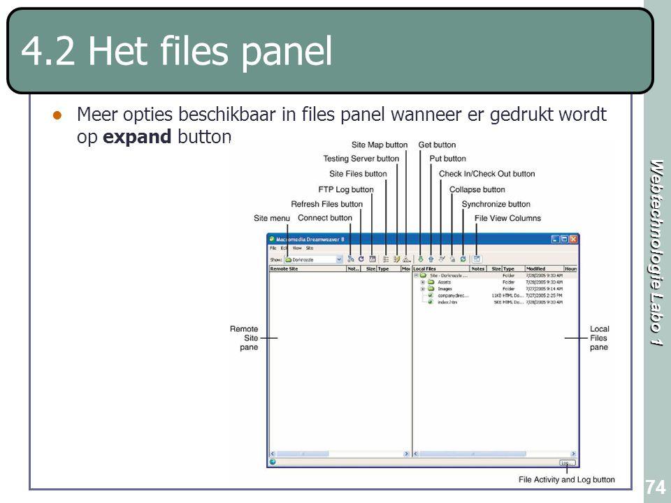 4.2 Het files panel Meer opties beschikbaar in files panel wanneer er gedrukt wordt op expand button.