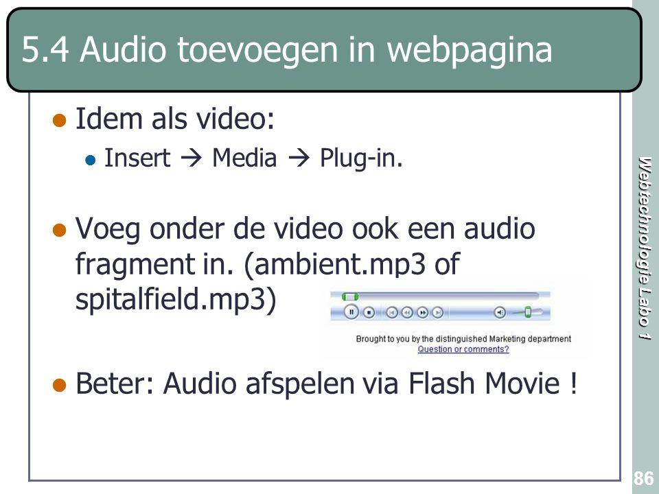 5.4 Audio toevoegen in webpagina