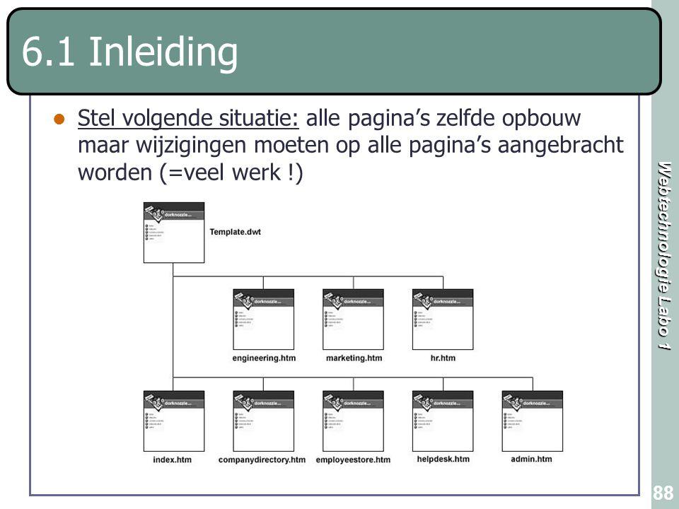 6.1 Inleiding Stel volgende situatie: alle pagina's zelfde opbouw maar wijzigingen moeten op alle pagina's aangebracht worden (=veel werk !)