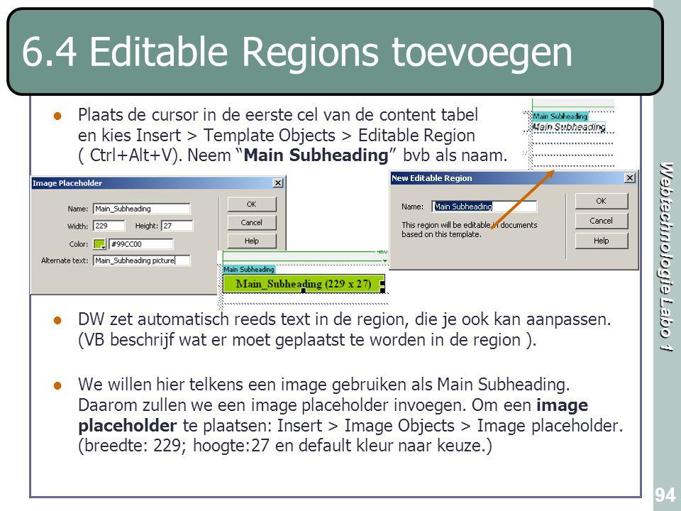 6.4 Editable Regions toevoegen