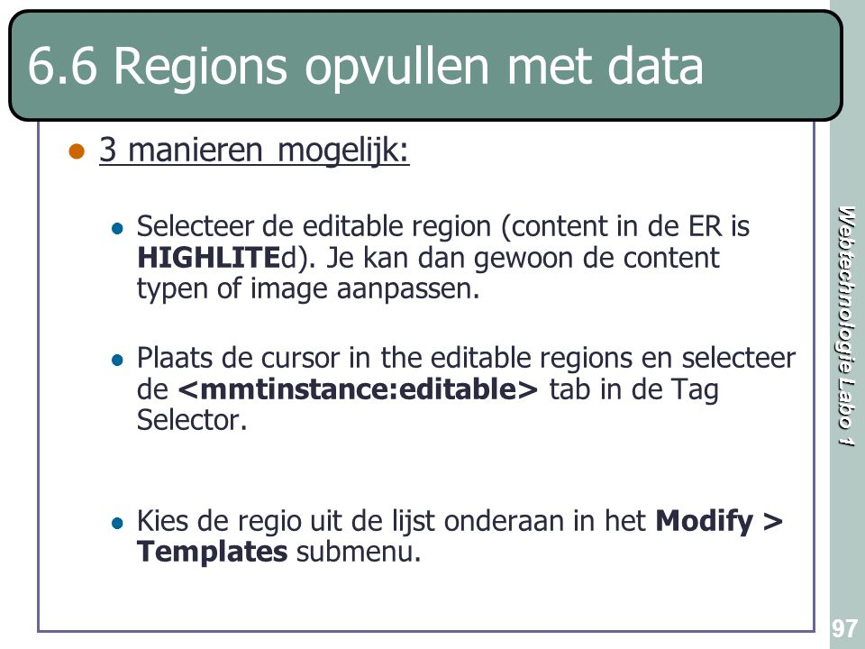 6.6 Regions opvullen met data