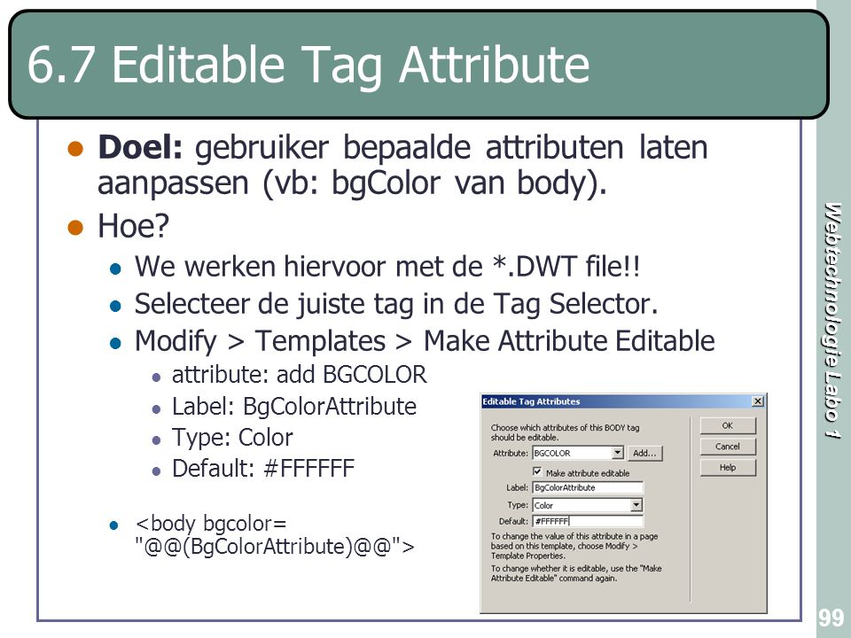 6.7 Editable Tag Attribute