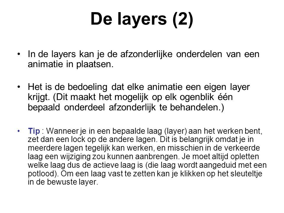 De layers (2) In de layers kan je de afzonderlijke onderdelen van een animatie in plaatsen.