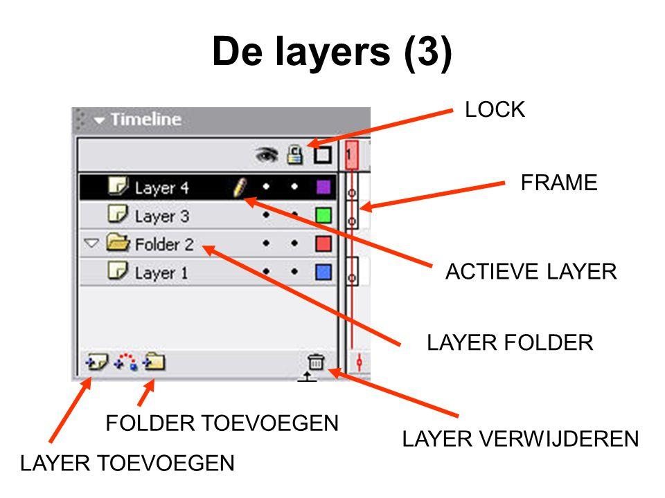De layers (3) LOCK FRAME ACTIEVE LAYER LAYER FOLDER FOLDER TOEVOEGEN