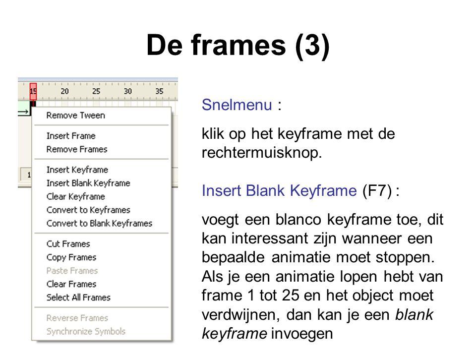 De frames (3) Snelmenu : klik op het keyframe met de rechtermuisknop.