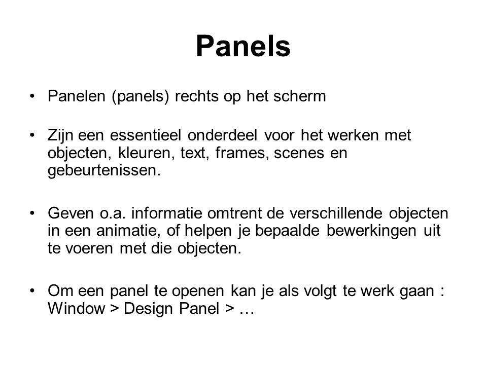 Panels Panelen (panels) rechts op het scherm