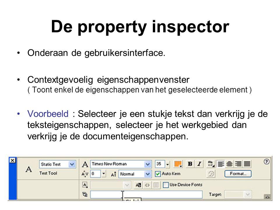 De property inspector Onderaan de gebruikersinterface.
