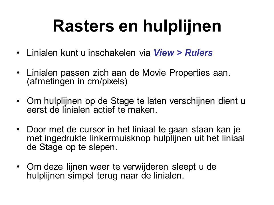 Rasters en hulplijnen Linialen kunt u inschakelen via View > Rulers
