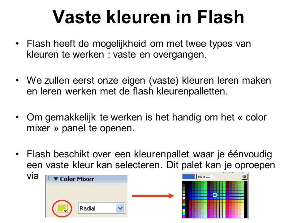 Vaste kleuren in Flash Flash heeft de mogelijkheid om met twee types van kleuren te werken : vaste en overgangen.