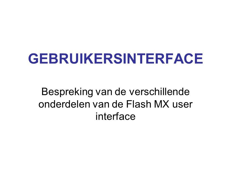 GEBRUIKERSINTERFACE Bespreking van de verschillende onderdelen van de Flash MX user interface
