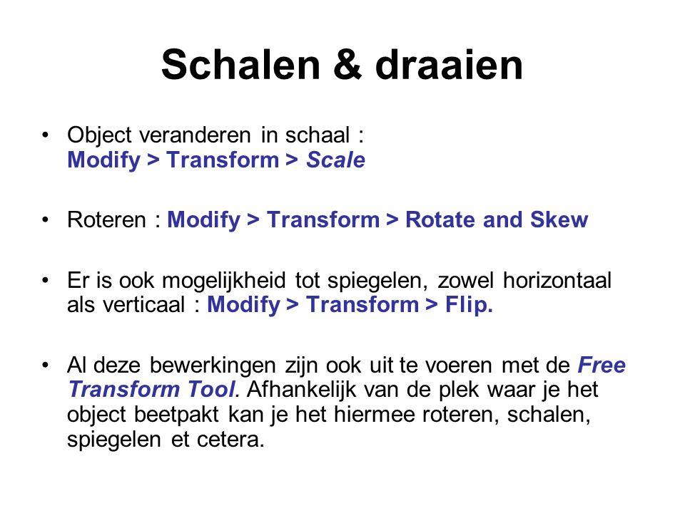 Schalen & draaien Object veranderen in schaal : Modify > Transform > Scale. Roteren : Modify > Transform > Rotate and Skew.