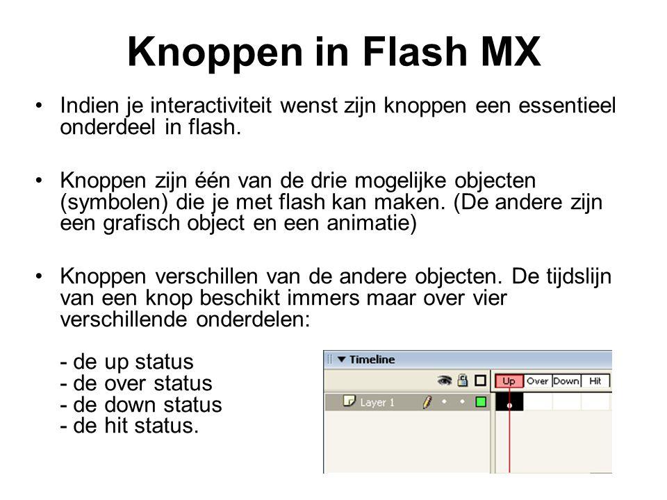 Knoppen in Flash MX Indien je interactiviteit wenst zijn knoppen een essentieel onderdeel in flash.