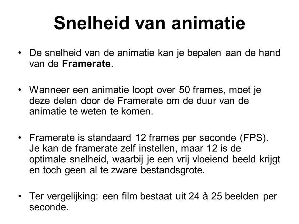 Snelheid van animatie De snelheid van de animatie kan je bepalen aan de hand van de Framerate.