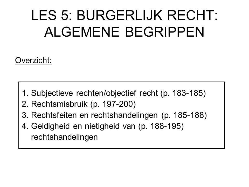 LES 5: BURGERLIJK RECHT: ALGEMENE BEGRIPPEN