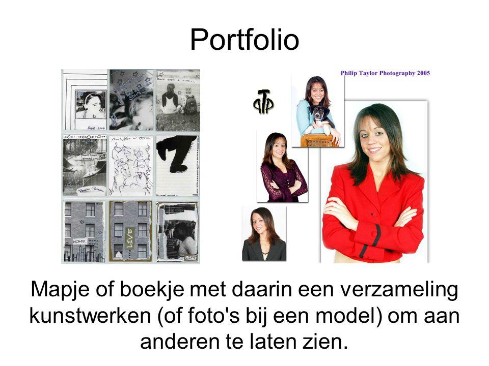 Portfolio Mapje of boekje met daarin een verzameling kunstwerken (of foto s bij een model) om aan anderen te laten zien.