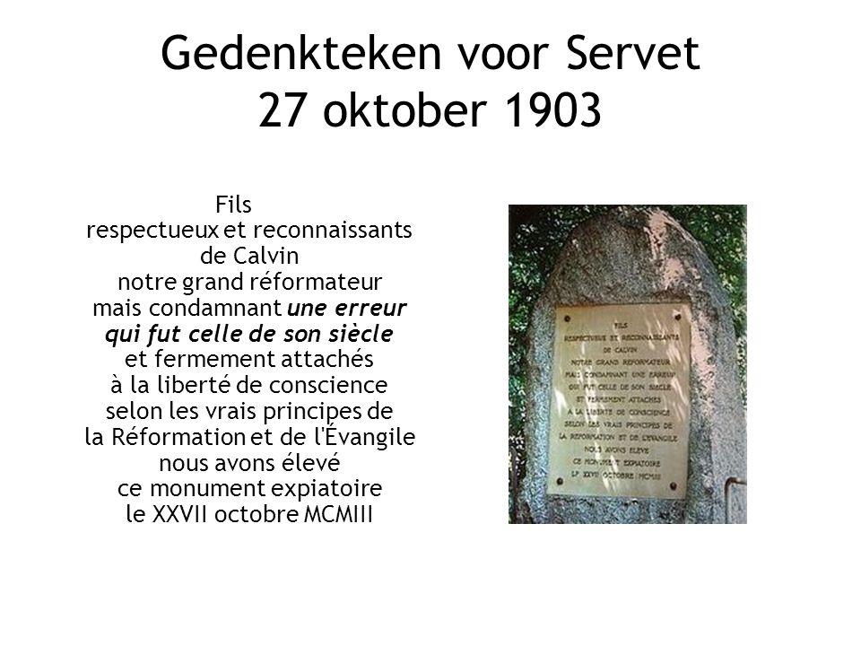 Gedenkteken voor Servet 27 oktober 1903