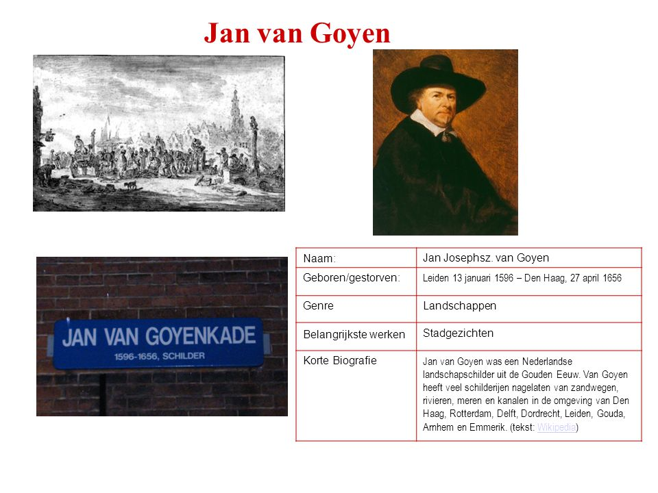 Jan van Goyen Naam: Jan Josephsz. van Goyen Geboren/gestorven: