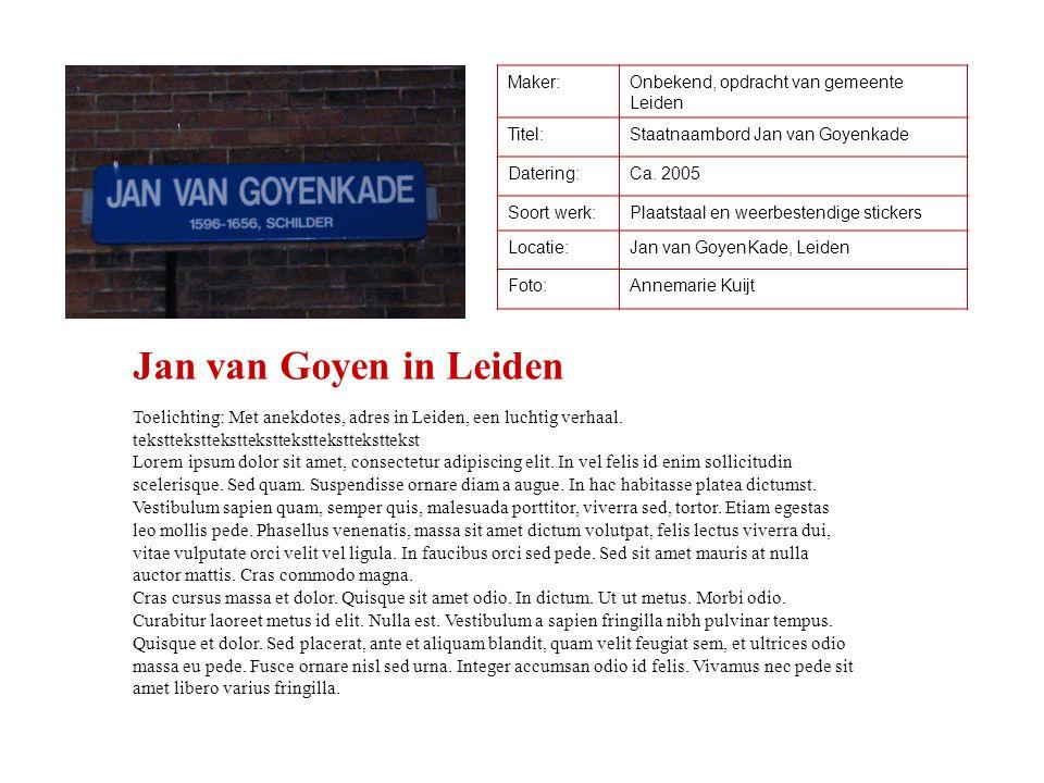 Maker: Onbekend, opdracht van gemeente Leiden. Titel: Staatnaambord Jan van Goyenkade. Datering: