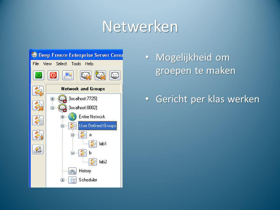 Netwerken Mogelijkheid om groepen te maken Gericht per klas werken