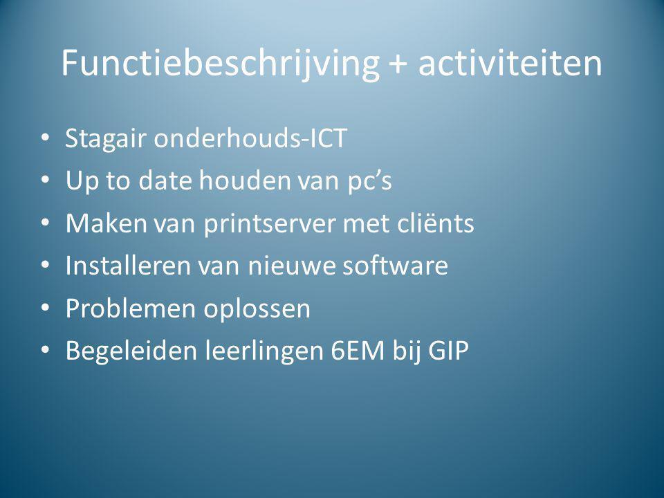 Functiebeschrijving + activiteiten
